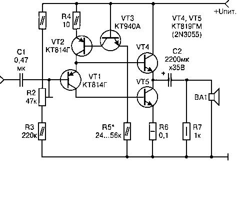 Ddo меня озадачил, прислав схему Вячеслава Щуцкого, г.Запорожье.  Простота подкупает и транзисторы 2N3055 есть.