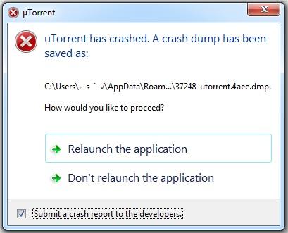 utorrent has crashed a crash dump has been saved as