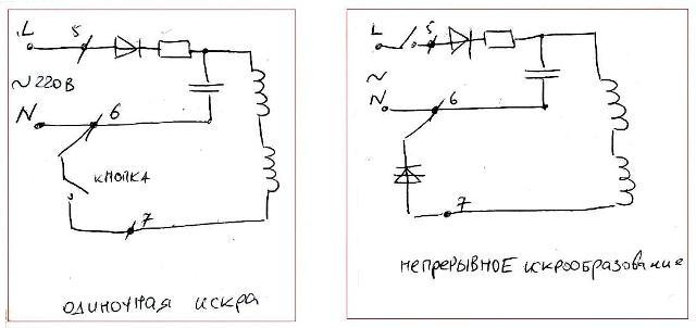 Схема электророзжига плиты