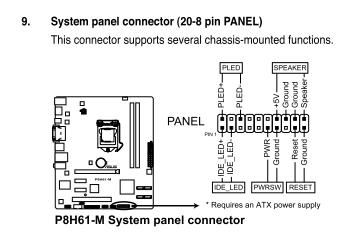 Motheboard ASUS P8H61-M LE как подсоединить провода? Собираю