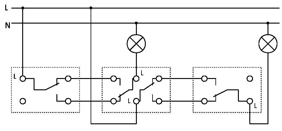 Тема: Схема двухклавишного переключателя c трех мест.